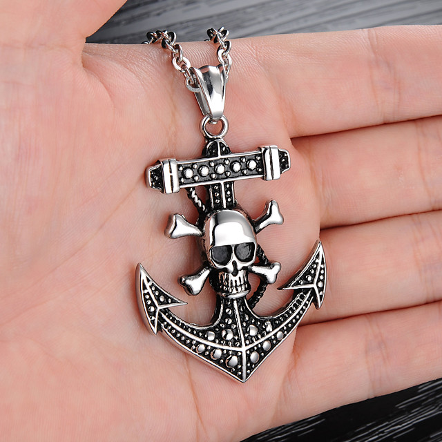 Men's Pendant Necklace Engraved Skull Precious Anchor Punk Trendy Gothic Modern Titanium Steel Silver 55 cm Necklace Jewelry 1pc For Gift School Street Club Promise
