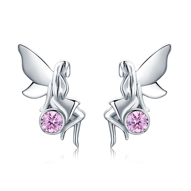New Trendy 100% 925 Sterling Silver Flower Fairy Pink CZ Stud Earrings for Women Sterling Silver Jewelry Gift SCE395