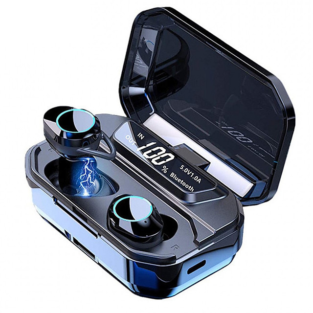 LITBest G02 TWS True Wireless Earbuds Bluetooth 5.0 Stereo IPX7 Waterproof 3300mAh Battery Power Bank LED Display Type-C Lading Case Touch Control Earphones with Fin Sports Fitness for Smartphones