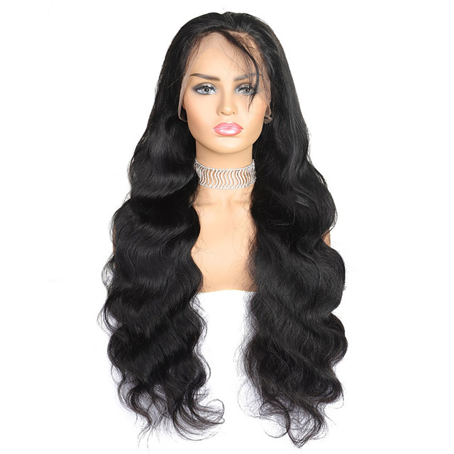 Remy Human Hair Lace Front Wig style Brazilian Hair Body Wave Black Wig 130% Density Women's Medium Length Human Hair Lace Wig beikashang