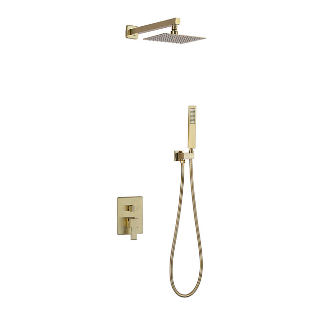 Shower Faucet Set - Rainfall Contemporary Nickel Brushed Wall Mounted Ceramic Valve Bath Shower Mixer Taps / Brass / Single Handle Three Holes