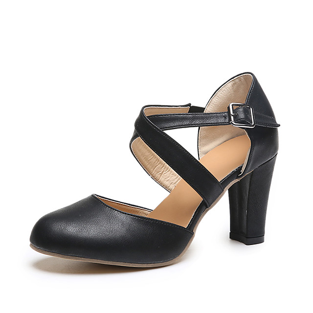 Women's Heels Chunky Heel Pointed Toe Faux Leather / PU Fall / Spring & Summer Black / Blue / Gray / Daily / 2-3