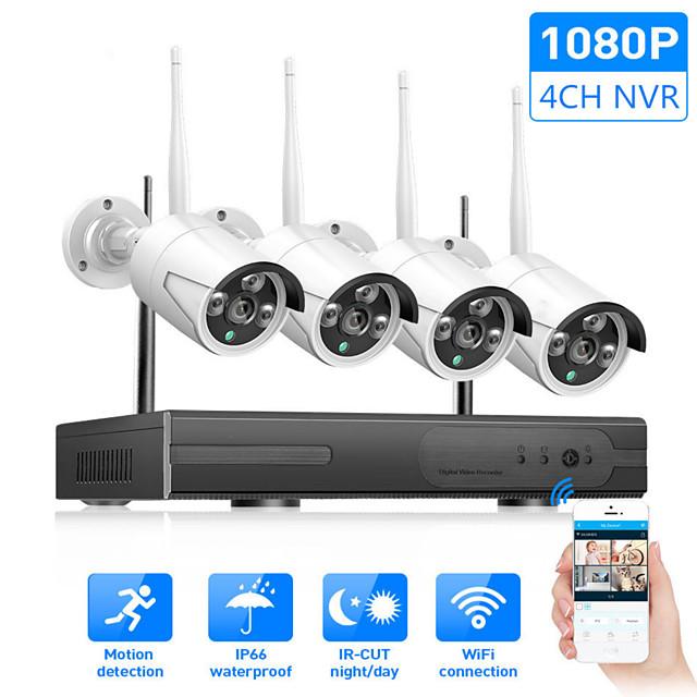 Wireless Camera Set 4 CH NVR System Wifi Kit Network Camera Recorder IP Camera 1080P IP66 Waterproof H.265 Day / Night Vision  Security Monitor Camera