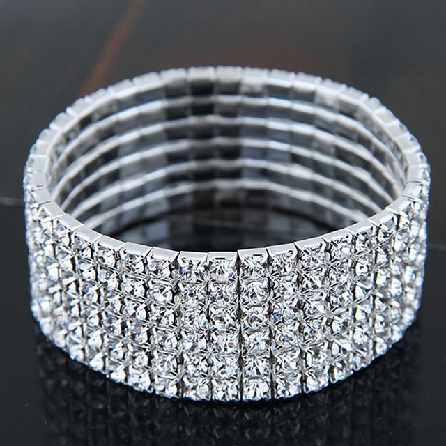 Women's Crystal Bracelet Classic Imagine Stylish Luxury Rhinestone Bracelet Jewelry Silver For Daily Festival