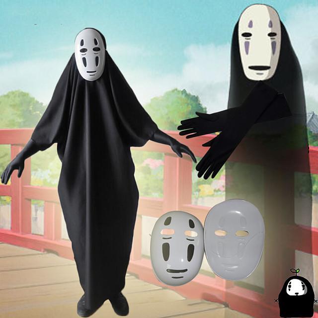 Esinlenen Ruhların Kaçışı Yüzsüz Adam Anime Cosplay Kostümleri Japonca Cosplay Takımları Strenç Dansçı / Tulum Eldivenler Maske Uyumluluk Erkek