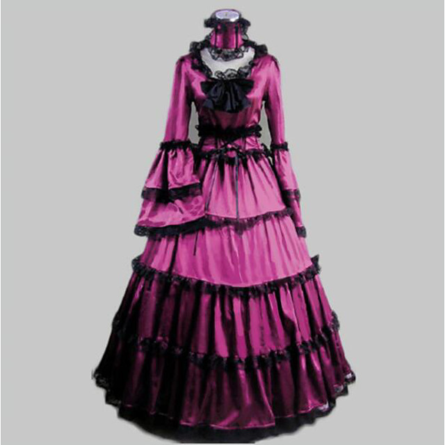 Rococo Victorian 18th Century Ruffle Dress Dress Party Costume Masquerade Women's Satin Costume Purple Vintage Cosplay Party Prom Long Sleeve Floor Length Long Length Ball Gown / Collar