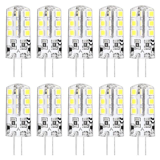 10stk Mini G4 LED-pære 3W 24 LED-perler SMD 2835 svarende til G4 Halogenpære 30W varm hvid 3000K dagslys hvid 6000K G4 Base DC12V AC220V