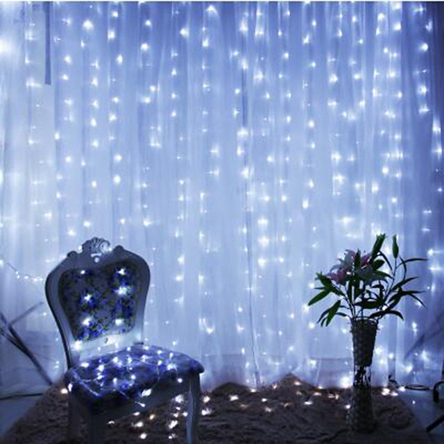 2pcs 3*3 m  300 LEDs 31V  low Voltage  Curtain String Lights Warm White White 8-Mode  New Design Wedding Christmas Wedding Decoration No Electric Shock Safer Garden Courtyard Decoration Lamp