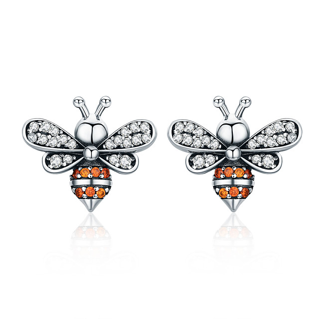 High Quality 100% 925 Sterling Silver Bee Story Clear CZ Exquisite Stud Earrings for Women Fashion Silver Jewelry SCE344