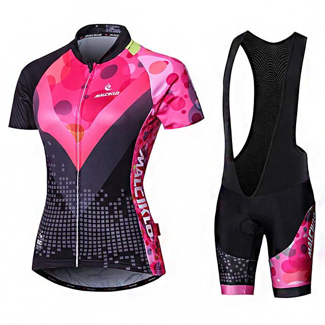 Malciklo Women's Short Sleeve Cycling Jersey with Bib Shorts Summer Elastane Lycra Polyester Pink+White Purple Yellow Geometic British Plus Size Bike Jersey Tights Padded Shorts / Chamois Anatomic