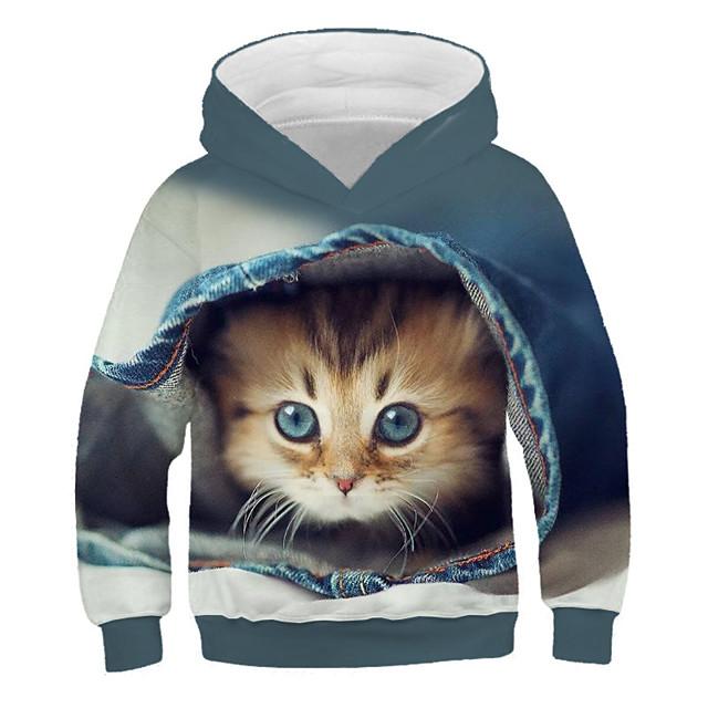 Kids Girls' Hoodie & Sweatshirt Long Sleeve Cat Print 3D Animal Print Blue Purple Green Children Tops Active Streetwear