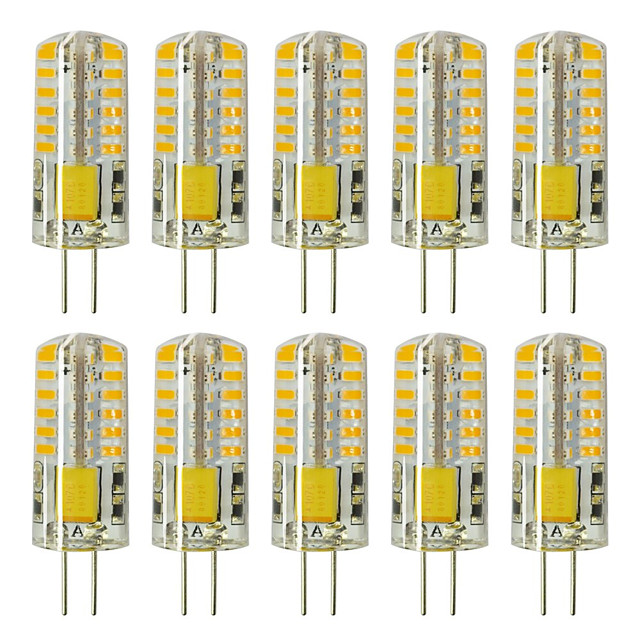 10pcs G4 5W 3014 x 48 LEDs White Light Lamps AC12V Non-dimmable Equivalent to 20W-25W T3 Halogen Track Bulb Replacement LED Bulbs