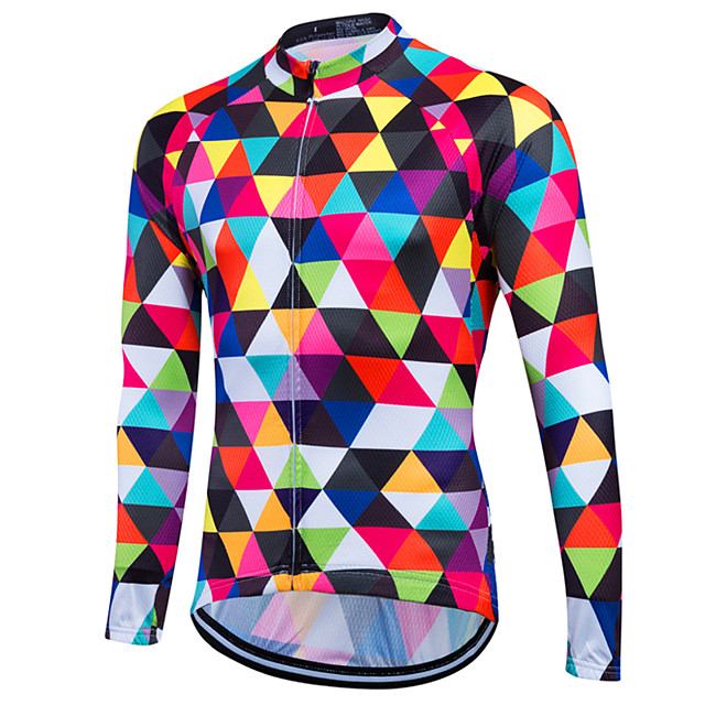 Fastcute Men's Long Sleeve Cycling Jersey Winter Fleece Coolmax® Velvet Multi color Purple Yellow Rainbow Plaid Argyle Bike Sweatshirt Jersey Top Mountain Bike MTB Road Bike Cycling Thermal Warm