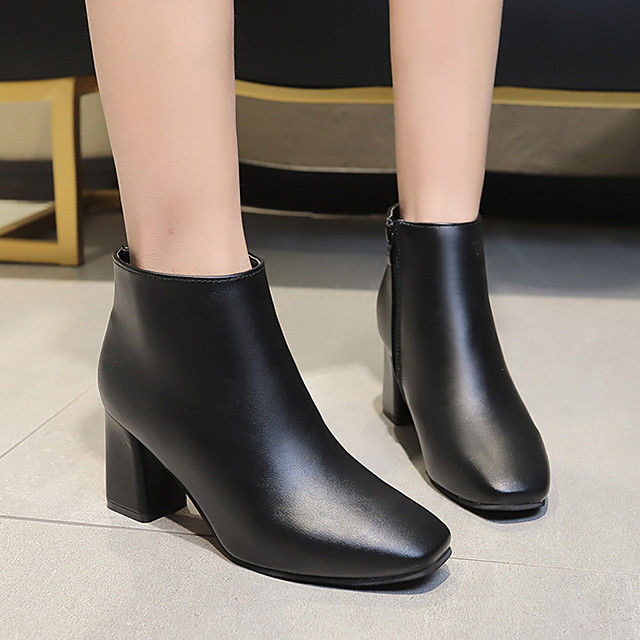 Womens Boots Chunky Heel Square Toe Daily Solid Colored