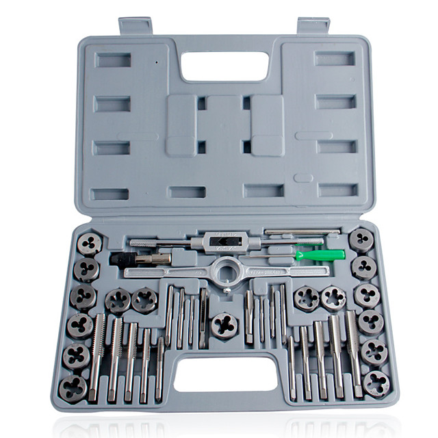 40pcs tap die set hand thread plug taps handle alloy steel inch threading tool with case