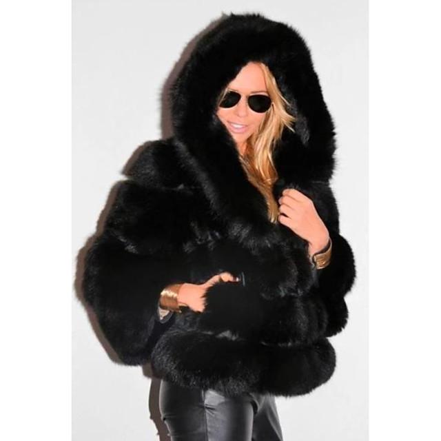 Long Sleeve Coats / Jackets Faux Fur Wedding Women's Wrap With Cap / Fur