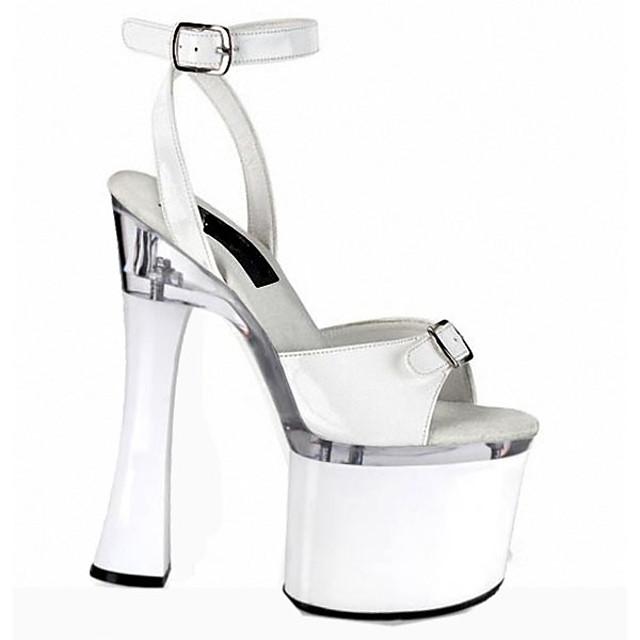 Women's Heels Chunky Heel Peep Toe Ribbon Tie PU British Summer Black / White / Silver / Party & Evening