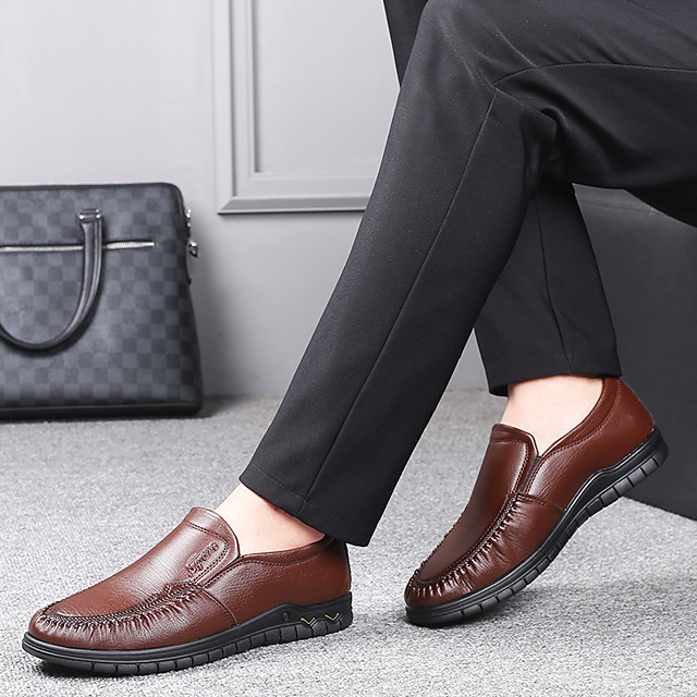 Men's Summer / Fall Business / British Daily Office & Career Loafers & Slip-Ons Nappa Leather Breathable Wear Proof Black / Brown