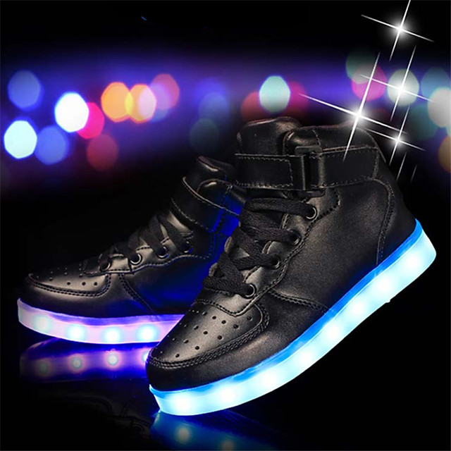 Boys' Sneakers LED Shoes USB Charging Halloween Cowhide PU Little Kids(4-7ys) Big Kids(7years +) LED Luminous Silver White Black Spring / Rubber