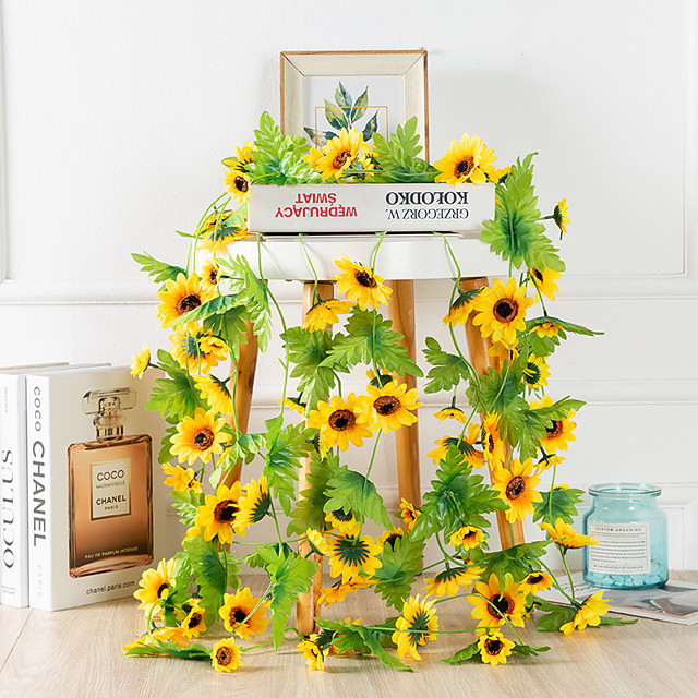 2Pc Simulation Sun Flower Rattan Air Conditioning Hose Decoration Fruit Shop Mall Festival Decoration Wedding Wedding Hotel Bedroom Loft Decoration Flower Vine Party Decoration