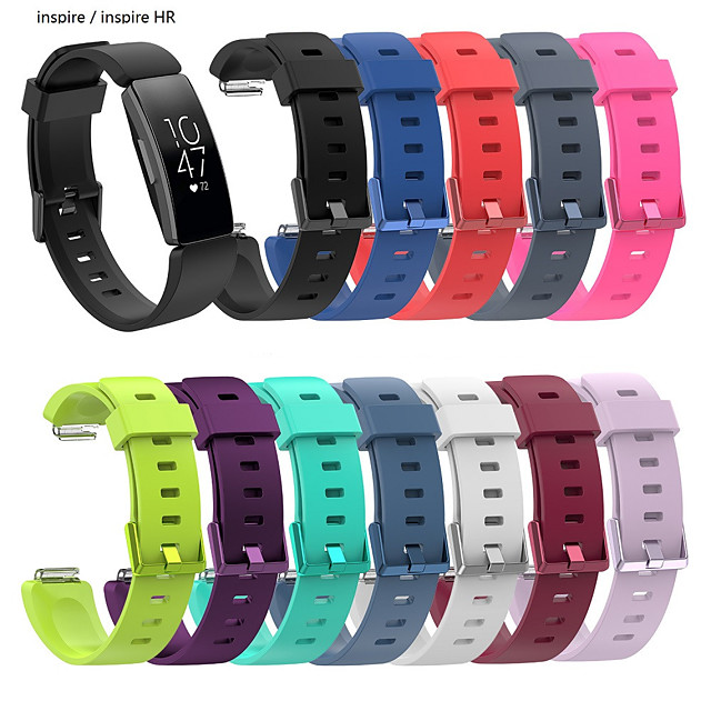 Large Silicone Wristband Strap Bracelet For Fitbit Inspire / Inspire HR Activity Tracker Smartwatch Replacement Watch Band Wrist Strap