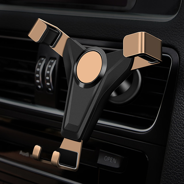 New car gravity mobile phone holder with skin pattern air outlet mobile phone holder side drop protection buckle
