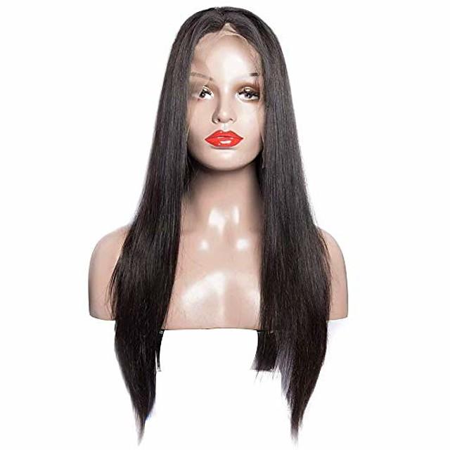 Remy kosa Lace Front Perika stil Brazilska kosa Ravan kroj Crna Perika 180% Gustoća kose Žene Srednja dužina Perike s ljudskom kosom beikashang