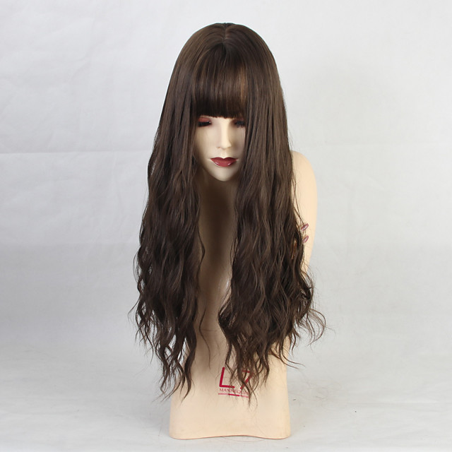 Costume Accessories Synthetic Wig Bangs Straight kinky Straight Neat Bang Wig Long Brown Synthetic Hair 26 inch Women's Anime Party Synthetic Black Brown