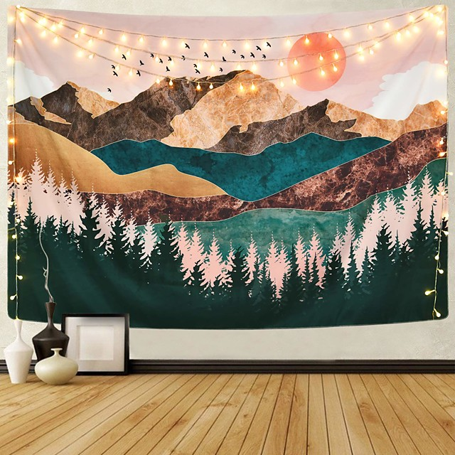 Wall Tapestry Art Decor Blanket Curtain Picnic Tablecloth Hanging Home Bedroom Living Room Dorm Decoration Mountain Forest Tree Sunset Sunrise Nature Landscape