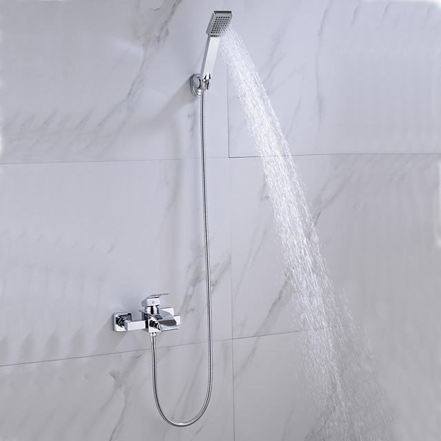 Bathtub Faucet Chrome Wall Mounted Ceramic Valve Bath Shower Mixer Taps