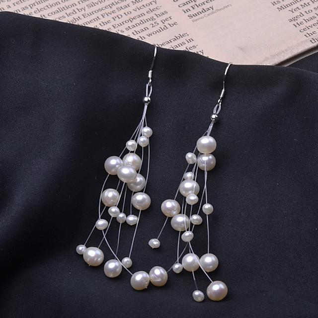 Women's Freshwater Pearl Drop Earrings Hoop Earrings Beads Gypsophila Romantic Fashion Pearl S925 Sterling Silver Earrings Jewelry White For Wedding Gift Daily Holiday Festival 1 Pair