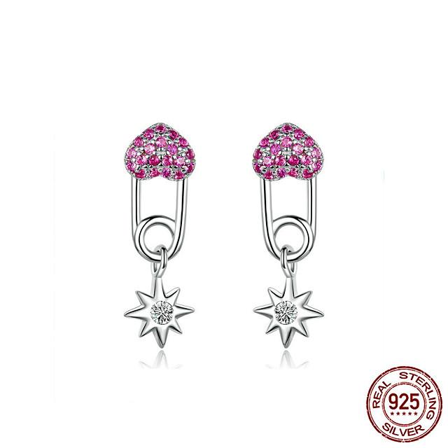 Heart Pin Earrings for Women 925 Sterling Silver Full Pave CZ Star Drop Earring Female Korean Jewelry Accessories BSE115