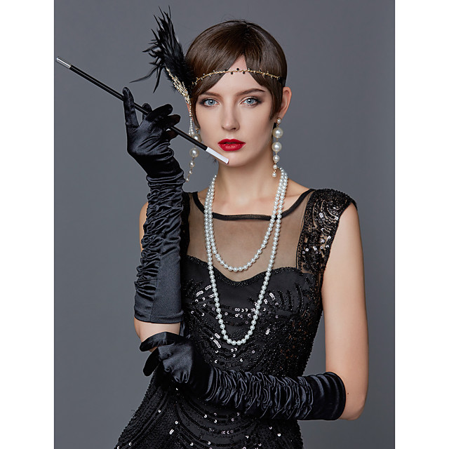 The Great Gatsby Charleston Vintage 1920s Roaring 20s Costume Accessory Sets Gloves Necklace Flapper Headband Women's Feather Costume Head Jewelry Scarf Necklace Pearl Necklace Black / White / Red