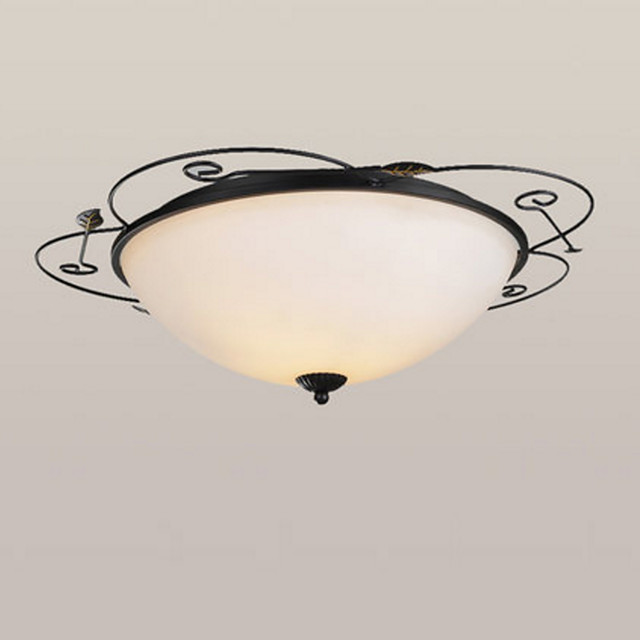 2-Light Ceiling Lamp American Country Chandeliers 2 Lights Ceiling Round Glass Shade Pendant Light Fixtures Flush Mount for Hallway Living Room