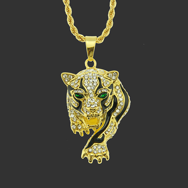 Men's Pendant Necklace Long Necklace Classic Tiger Unique Design Fashion Gold Plated Chrome Gold Silver Hawk Golden Leopard Silver Leopard 75 cm Necklace Jewelry 1pc For Street