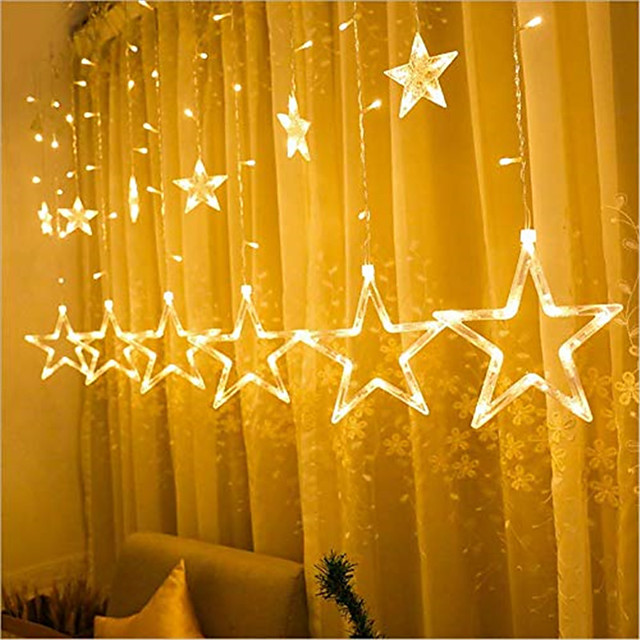 1pcs 2.5m Star Lamp LED Lamp String Ins Christmas Lights Decoration Holiday Lights Curtain Lamp Wedding Neon Lantern 220v fairy light