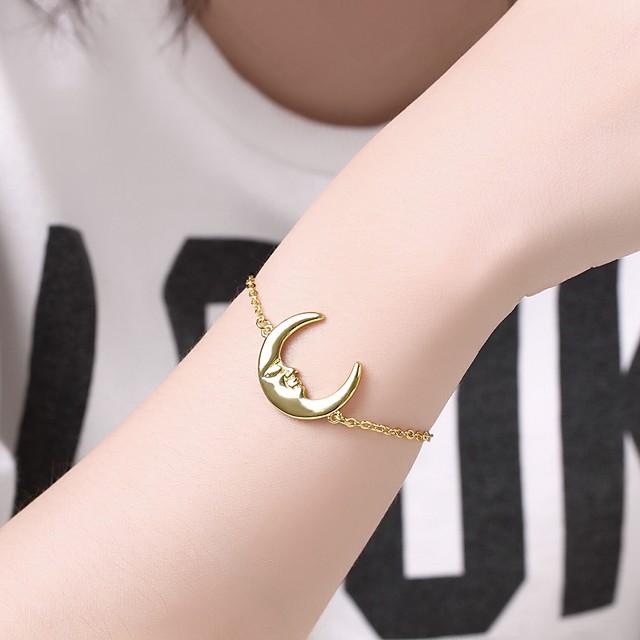 Women's Chain Bracelet Pendant Bracelet 3D Moon Precious Unique Design Fashion Brass Bracelet Jewelry Gold For Daily Work / Gold Plated