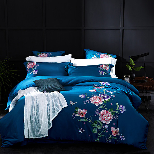 Duvet Cover Sets Solid Color Floral / Botanical 100% Egyptian Cotton Reactive Print Embroidery Quilted 4 Piece Bedding Set With Pillowcase Bed Linen Sheet Single Double Queen King Size Quilt Covers Be