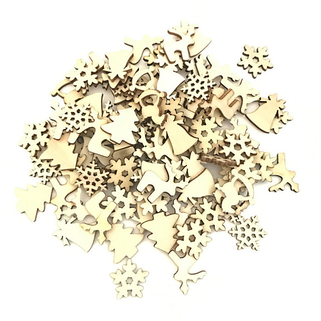 100pcs Wooden Christmas Tree Ornaments Mini Snowflake Tree Hanging Pendants Christmas Decorations for Home Premium Year Gift