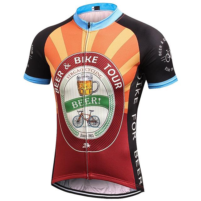 21Grams Men's Short Sleeve Cycling Jersey Summer Black / Orange Yellow Black Retro Novelty Oktoberfest Beer Bike Jersey Top Mountain Bike MTB Road Bike Cycling Quick Dry Moisture Wicking Breathable