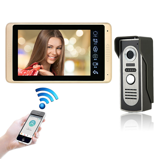 Wired & Wireless 7 inch Hands-free 1024*600 Pixel One to One video doorphone