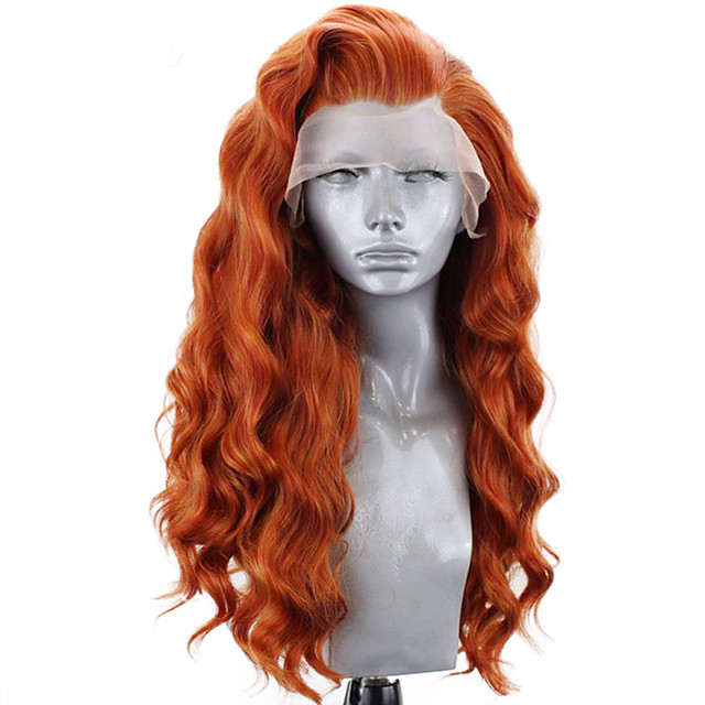Synthetic Lace Front Wig Wavy Side Part Lace Front Wig Long Orange Synthetic Hair 18-26 inch Women's Adjustable Heat Resistant Party Brown