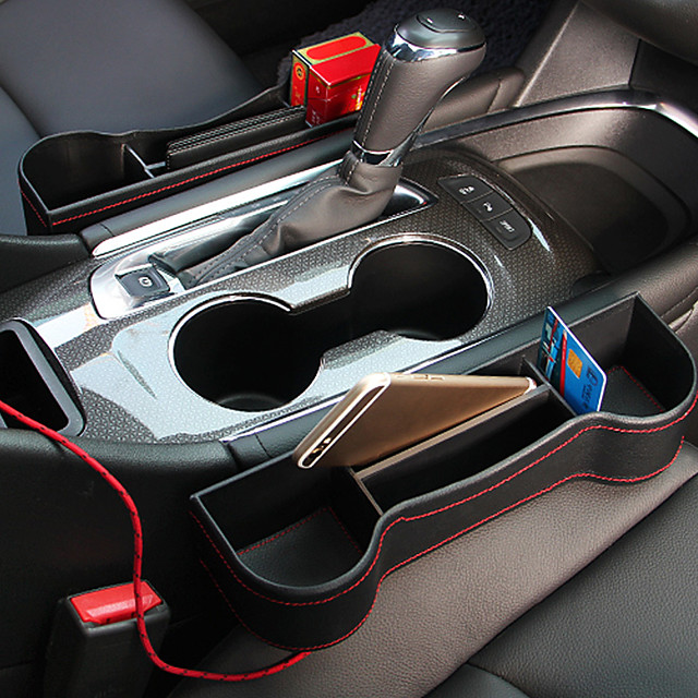 Interior Car Seat Gap Filler Pocket Organizer Box Multifunctional Glove Box Auto Accessories Seat Gap Storage Container Holder Console Side Pocket
