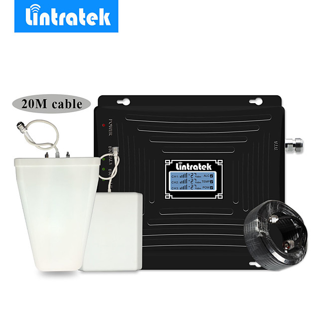 Lintratek GSM/DCS/3G 900 1800 2100 mhz Mobile Phone Smart Signal Repeater Booster 2G 3G 4G Cell Phone Antenna Amplifier Extender Set for Home and Office