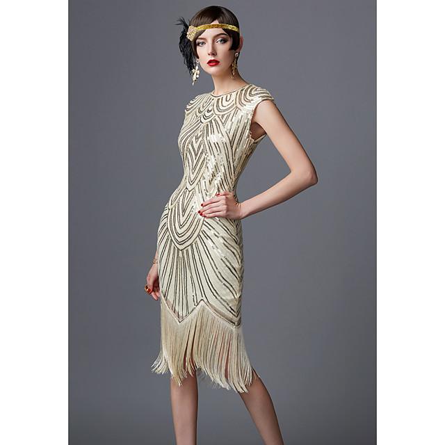 The Great Gatsby Čarlston Roaring 20s 1920s haljina za odmor Haljine Žene Šljokice Kostim Crna / crvena / Gloden + crna / Obala Vintage Cosplay Party Maturalna zabava Prom Dugih rukava Do poda Dugi