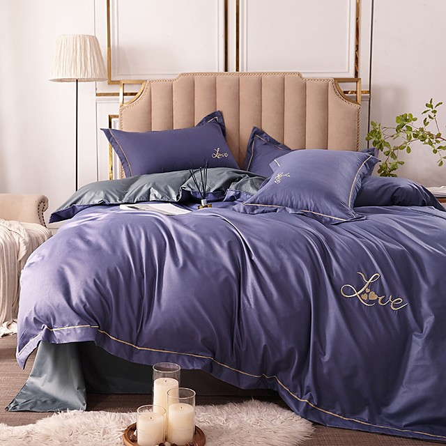 Duvet Cover Sets 4 Piece Rayon / Polyester Solid Colored Dark Pink Embroidery Simple / Quilted / 4pcs (1 Duvet Cover, 1 Flat Sheet, 2 Shams)