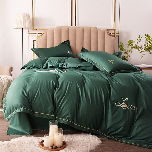 Duvet Cover Sets Solid Colored Rayon / Polyester Embroidery / Quilted 4 PieceBedding Sets