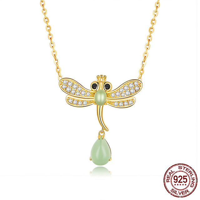 Dragonfly Jade Necklace for Women Genuine 925 Sterling Silver Clear CZ Paved Waterdrop Necklaces Fine Jewelry Chain length 38-45 cm can be adjusted freely