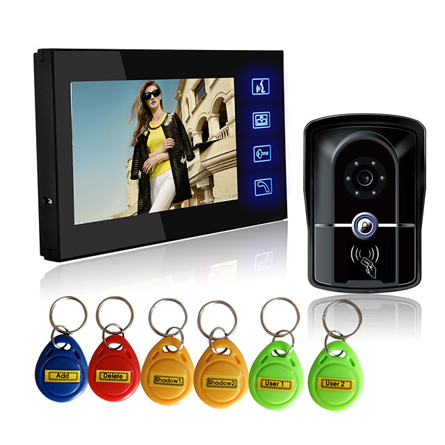 Wired RFID 7 inch Hands-free 800*480 Pixel One to One video doorphone