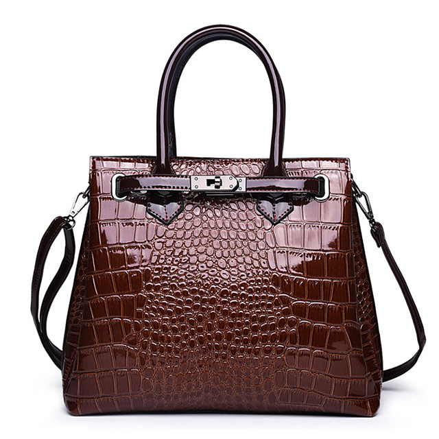 Women's Polyester / PU Top Handle Bag Crocodile Red / Brown / Black